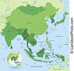地図, ずっと, 細部, アジア, 高く, ベクトル, 東