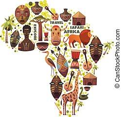 地図, の, アフリカ, ∥で∥, ベクトル, icons., マスク, 音楽, 動物, 人々。, サファリ, 旅行, そして, adventure., 探検しなさい, 新しい, world.
