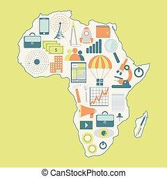 地図, の, アフリカ, ∥で∥, 技術アイコン