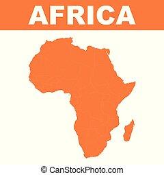 地図, の, アフリカ。, ベクトル, 平ら