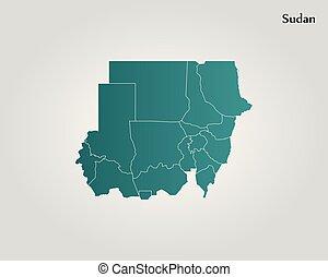 地図, の, スーダン