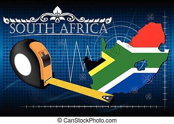 地図, の, 南アフリカ, ∥で∥, 定規, vector.