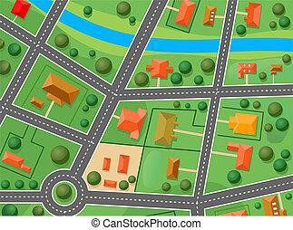 地図, の, 郊外, 地区