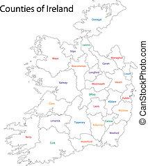 地図, アウトライン, アイルランド