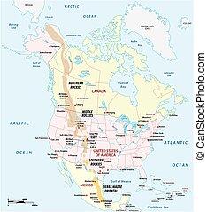 地図, アウトライン, アメリカ, ベクトル, 北, 岩が多い 山