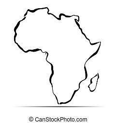 地図, アウトライン, イラスト, ベクトル, 黒, アフリカ。