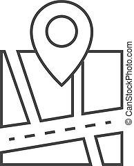 地図, アウトライン, ピン, -, 位置, アイコン