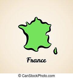 地図, -, アウトライン, フランス