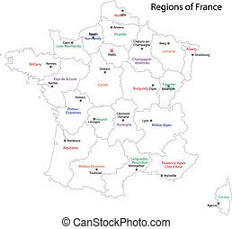 地図, アウトライン, フランス