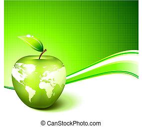 地図, アップル, 地球, 緑の背景, 世界, 抽象的