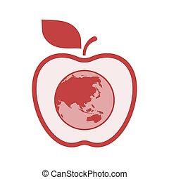 地図, アップル, 地球, 隔離された, アジア, 太平洋, 世界