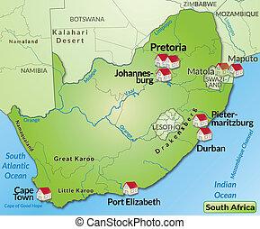 地図, アフリカ, 南