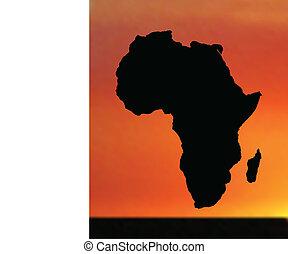 地図, アフリカ, 日没, イラスト