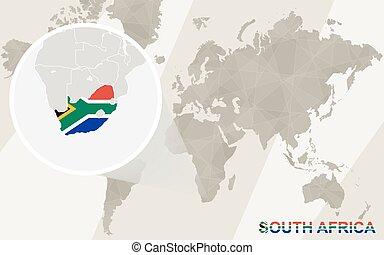 地図, アフリカ, map., ズームレンズ, flag., 世界, 南