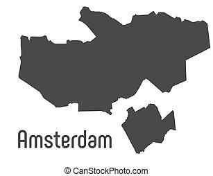 地図, アムステルダム, admin, 都市, ボーダー