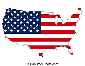 地図, アメリカの旗