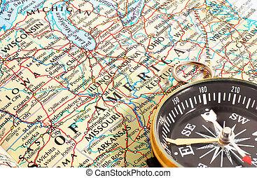 地図, アメリカ, 北, コンパス