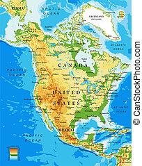 地図, アメリカ, 北, 健康診断