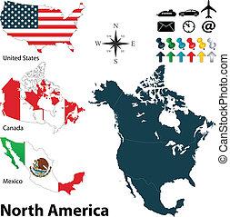 地図, アメリカ, 北, 政治的である