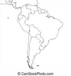 地図, アメリカ, 南, ブランク