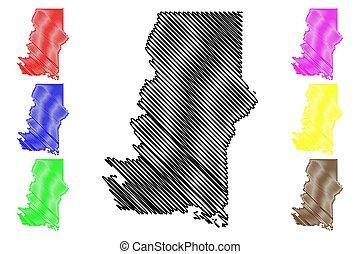 地図, アメリカ, 合併した, murray, スケッチ, ジョージア, 落書き, 郡, 州, us), (u.s., イラスト, ベクトル, u.。s.。