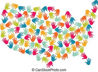 地図, アメリカ, 手