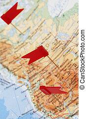 地図, アメリカ, 旗, 赤