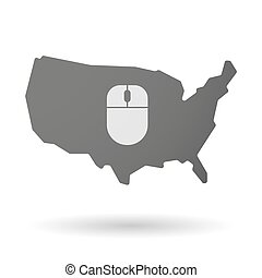 地図, アメリカ, 隔離された, 無線, ベクトル, マウスアイコン