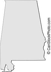 地図, アラバマ, states), (united