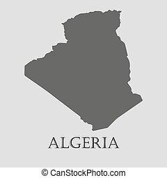 地図, アルジェリア, -, イラスト, ベクトル, 黒
