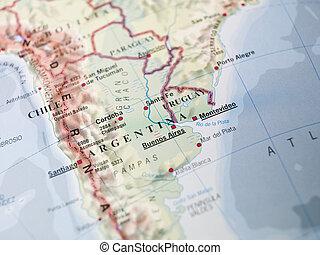 地図, アルゼンチン, ウルグアイ
