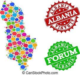 地図, アルバニア, グランジ, ネットワーク, スタンプ, 社会, 泡, 話