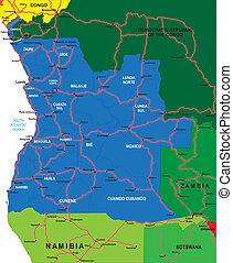 地図, アンゴラ, 政治的である
