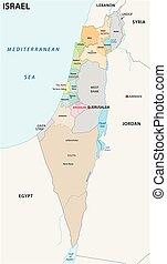 地図, イスラエル, ベクトル, 政治的である, 管理上