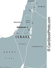 地図, イスラエル, 政治的である, 灰色