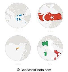 地図, イタリア, キプロス, 国民, 輪郭, 旗, ギリシャ, トルコ, circle.