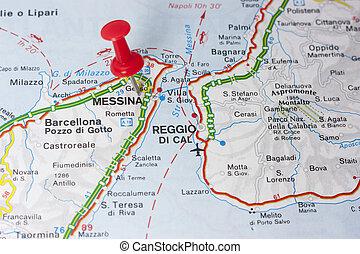 地図, イタリア, メッシーナ