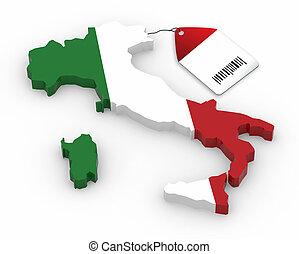 地図, イタリア, 価格, 旗, タグ, 国民, 3d