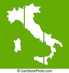 地図, イタリア, 緑, アイコン