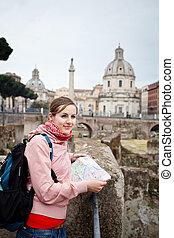 地図, イタリア, 観光客, フォーラム, nome, santissimo, 勉強, background),...