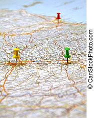 地図, イタリア, 黄色, ポイント, 緑の赤