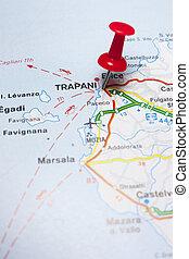 地図, イタリア, trapani