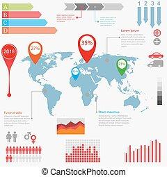 地図, イラスト, ベクトル, デザイン, infographics, 世界, template.