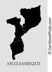 地図, -, イラスト, ベクトル, モザンビーク, 黒