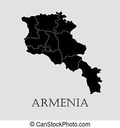 地図, -, イラスト, ベクトル, 黒, アルメニア