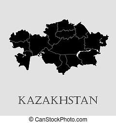 地図, -, イラスト, ベクトル, 黒, カザフスタン