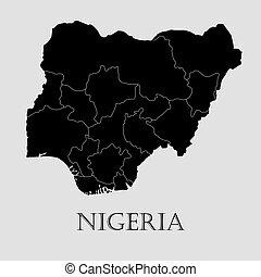 地図, -, イラスト, ベクトル, 黒, ナイジェリア