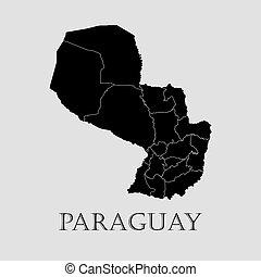 地図, -, イラスト, ベクトル, 黒, パラグアイ