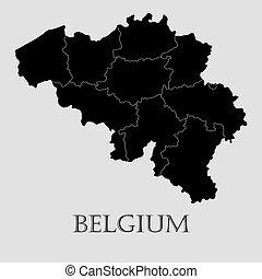 地図, -, イラスト, ベクトル, 黒, ベルギー