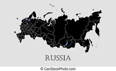 地図, -, イラスト, ベクトル, 黒, ロシア